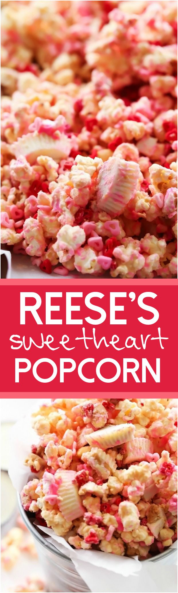 REESE'S Sweetheart Popcorn... A tasty and festive popcorn that is a delicious blend of white chocolate, peanut butter, peanuts and of course REESE's chocolates! #sponsored