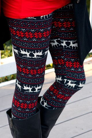 Flower Reindeer Leggings...don't know if I can pull it off but I love these leggings!