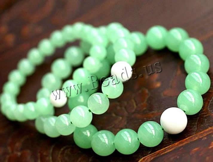 Aventurina verde Pulsera, con Almeja gigante, Esférico, diverso tamaño para la opción, longitud:aproximado 7.5 Pulgada, 10Tiras/Grupo, Vendido por Grupo - beads.us
