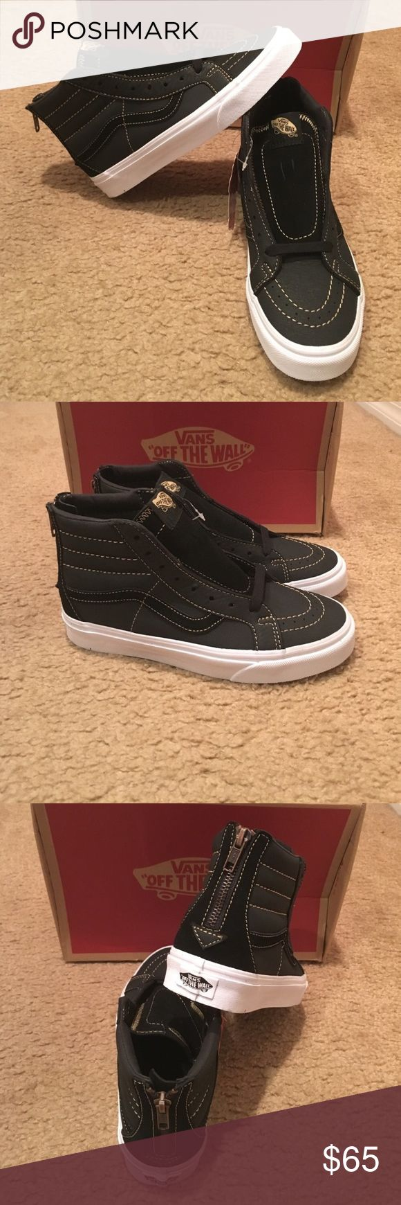 Premium Leather SK8Hi Reissue Zip Vans New in box. Black Vans Shoes Sneakers