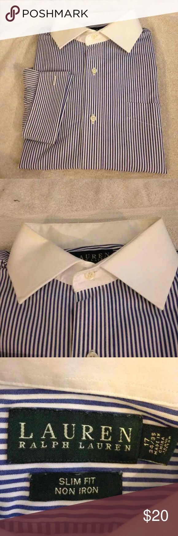 Ralph Lauren Blue Stripe Slim Shirt 17 34/35 Lauren Ralph Lauren Blue and White Stripe White Collar French Cuff Slim Fit Dress Shirt size 17 34/35! Like new! Please make reasonable offers and bundle! Ask questions! :) Lauren Ralph Lauren Shirts Dress Shirts