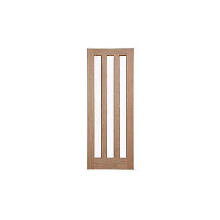 Vertical 3 Panel Oak Veneer Glazed Internal Door, (H)1981mm (W)762mm | Departments | DIY at B&Q