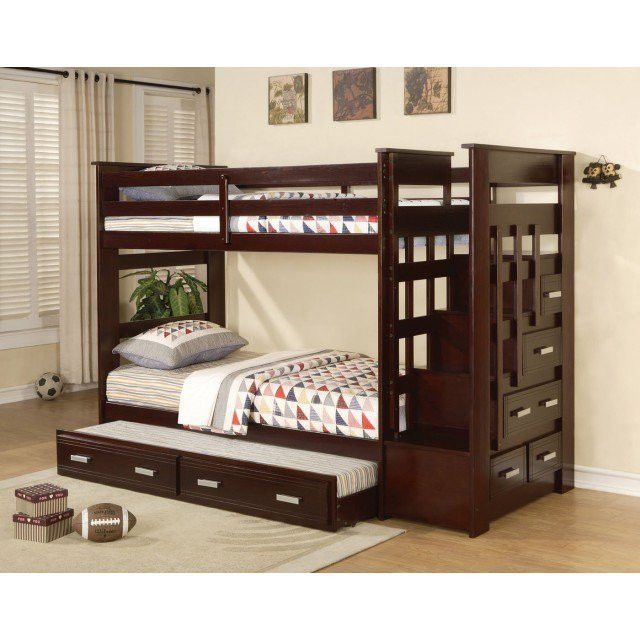 ACME Allentown Twin/Twin Bunk Bed w/Storage Ladder & Trundle Espresso - 10170B