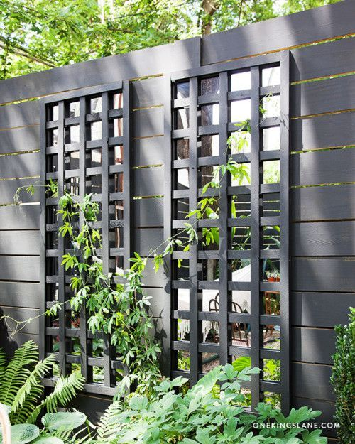 DIY Mirrored Trellis // with Benjamin Moore's Regal Exterior, Matte, Raccoon Fur 2126-20