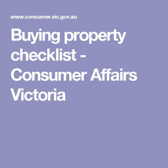 Buying property checklist - Consumer Affairs Victoria