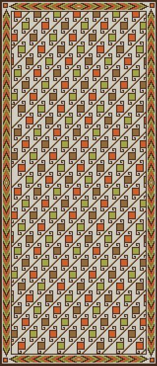 ✄ PATRON PUNTO CRUZ  Alfombra Pasillo Tipo Azteca II   Para bordar con Lanas.  162 puntos de ancho  372 puntos de largo.  Utiliza 5 colores http://puntocruzandino.weebly.com/