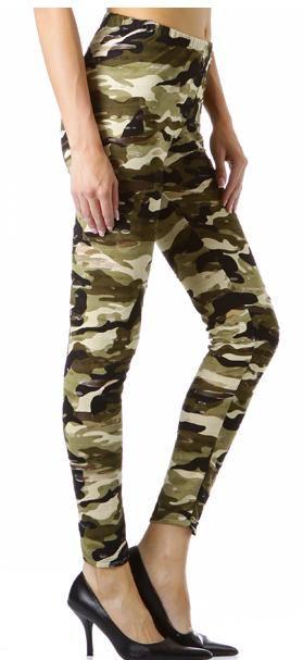 Mesh Army Military Print Leggings