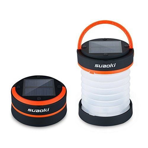 Suaoki Led Camping Lantern Lights Rechargeable Battery (Powered By Solar Panel and USB Charging) Collapsible Flashlight for Outdoor Hiking Tent Garden (Emergency Charger for Phone Water-Resistant)