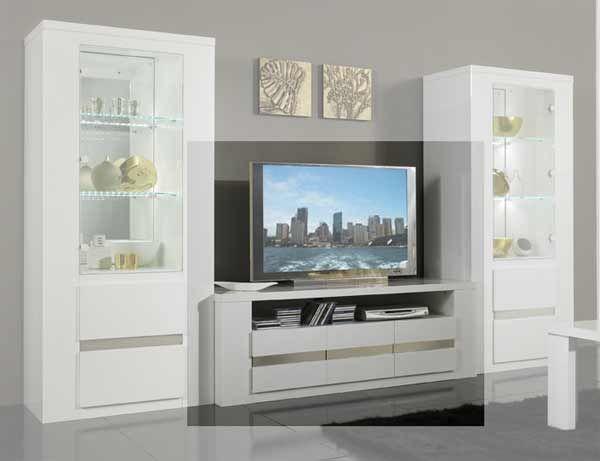meuble tv plasma tania laqu blanc - Meuble Tv Blanc Glossy