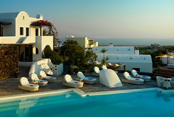 Vedema Resort, Santorini. The15th Century winery and historical architecture, combined with modern décor and impeccable service, make this resort Santorini's finest.