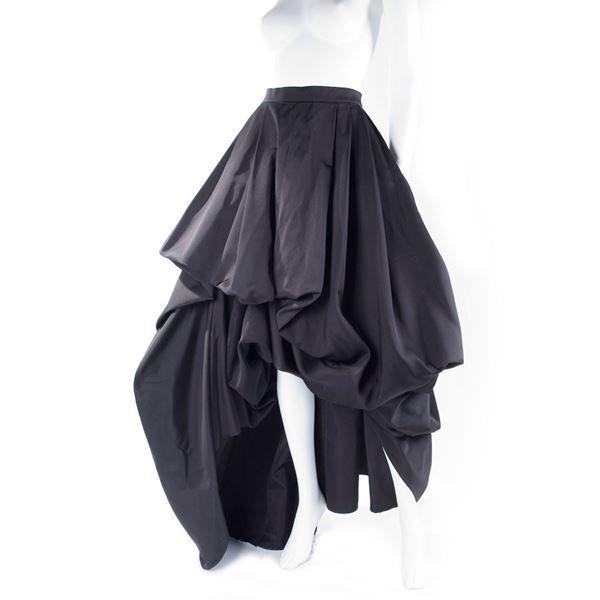 Black Rare Hermes Silk Evening Skirt
