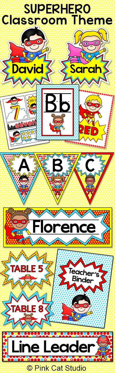 Create a fun and whimsical Superhero themed classroom with this quality décor set. ncluded in this pack is a word wall, binder covers, bunting, center signs, colors posters, hall passes, job labels, name tags, nameplates, numbers posters, and table signs. By Pink Cat Studio