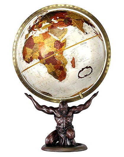 "Atlas holding up the world. 12"" Bronze metallic map desk top globe."