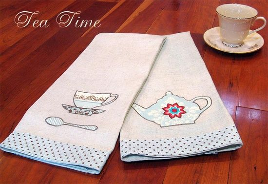 machine embroidery projects | machine embroidery / Tea Time Appliqué Tea Towels. Tutorial: http ...