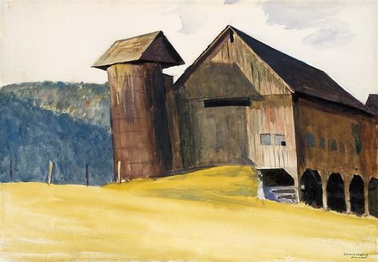 Edward Hopper (1882–1967), Barn and Silo, Vermont, 1927. watercolor, gouache and charcoal on paper, 13 7/8 x 19 7/8 inches