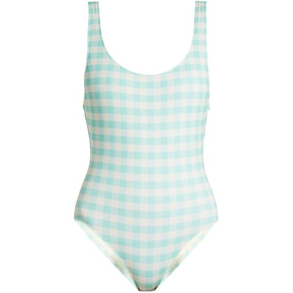 Solid & Striped The Anne-Marie gingham swimsuit ($81) ❤ liked on Polyvore featuring swimwear, one-piece swimsuits, light blue, swim suits, bathing suit swimwear, swimming costume, gingham swimsuit and striped swimwear