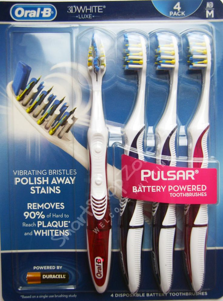 4 pack Oral-B PULSAR 3D WHITE Battery Power Toothbrushes Vibrating Bristles MED  $34.99