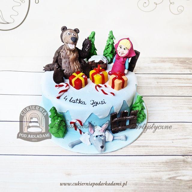 204BD Tort zimowa Masza i Niedźwiedź. Winter Masha and The Bear cake.