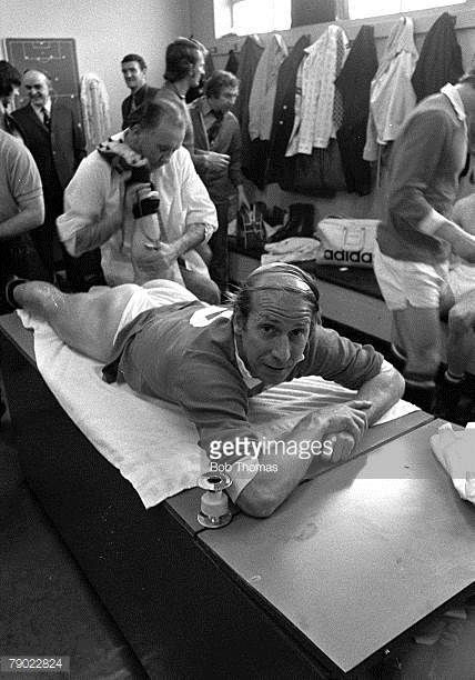 Sport Football Manchester England 23rd April 1973 League Division One Manchester United 1 v Sheffield United 2 Bobby Charlton receives a massage...