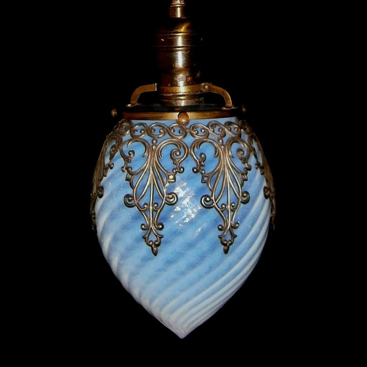 Antique Blue Swirl Glass Hanging Pendant Light Fixture from loftylighting on Ruby Lane