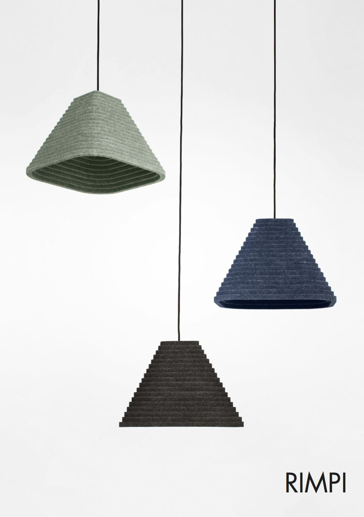 The acoustic material used in RIMPI is surface peat moss. It is 100% ecological and acoustically ultra effective (class A) with a unique visual texture. As a fibrous material it creates endless variations of color shadings depending on the light in place. Material is also extremely light and therefore lights are easy to hang.  W x L x H  500 x 500 x 340 / E27 Weight 1,2 g (More sizes coming soon.)  Colours: Blueberry, Moss, Light Dust, Dark Dust  Photo: Sergei Pavlov