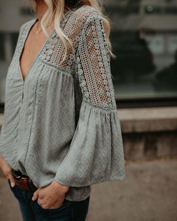Du Jour Crochet Blouse - Sage