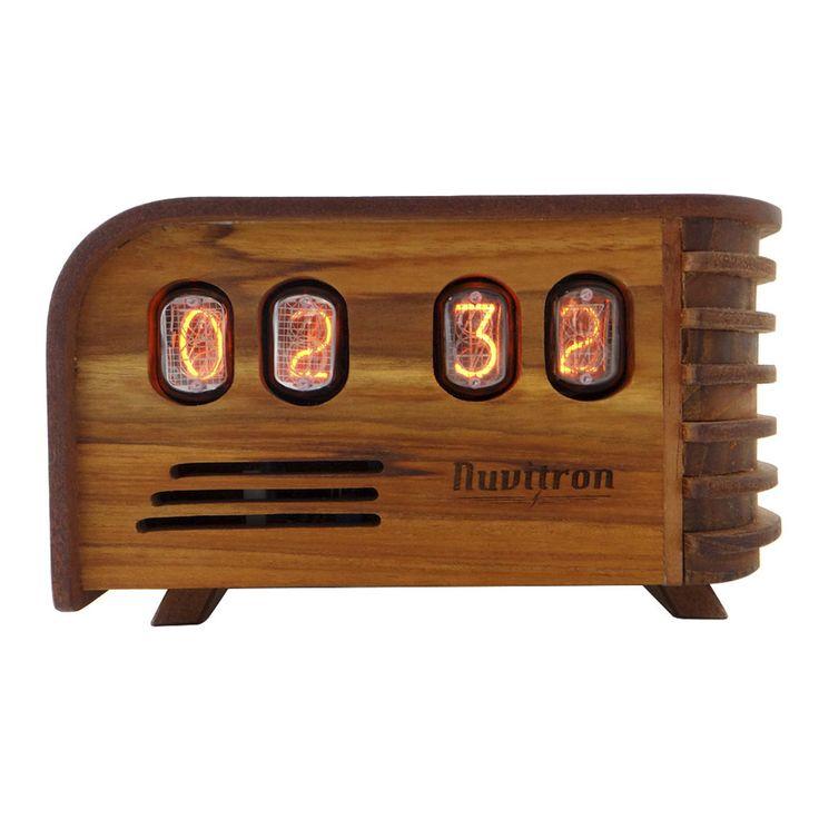 The Vintage Nixie Tube Clock - Watt   #Nuvitron #gadget #nixie #chiselwork #technology #instagood #giftideas #creativity #woodshavings #in12 #mantleclock #nixietube #Retrotimepiece #vintageclock