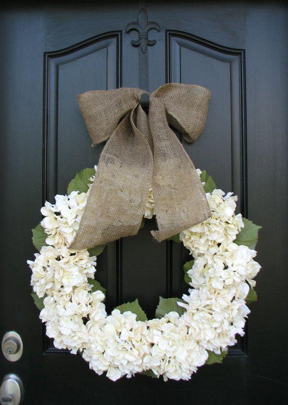 Wedding Wreaths, Wedding Hydrangeas, Florals for Weddings, Cream Hydrangeas, Hydrangea Wreaths, Summer Hydrangeas,  Burlap Decor, Wreaths via Etsy