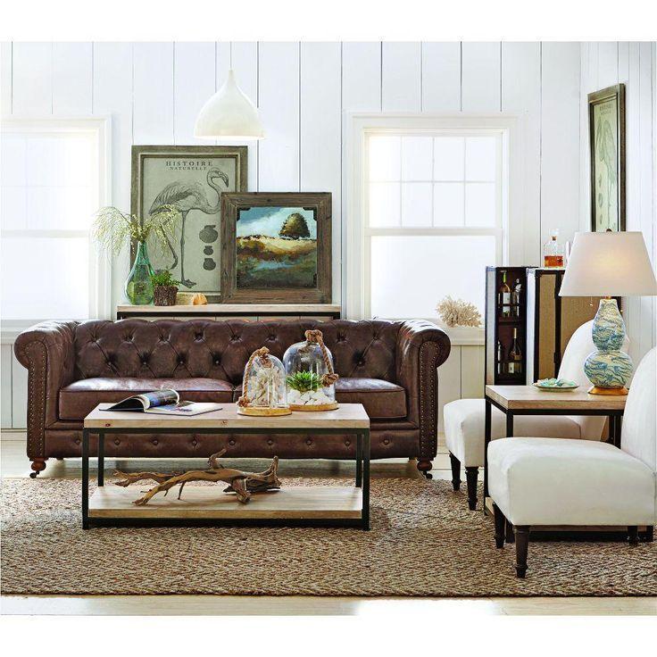 Home Decorators Collection Gordon Brown Leather Sofa 0849400760 Brown Sofa Living Room Brown Leather Sofa Living Room Brown Living Room Decor