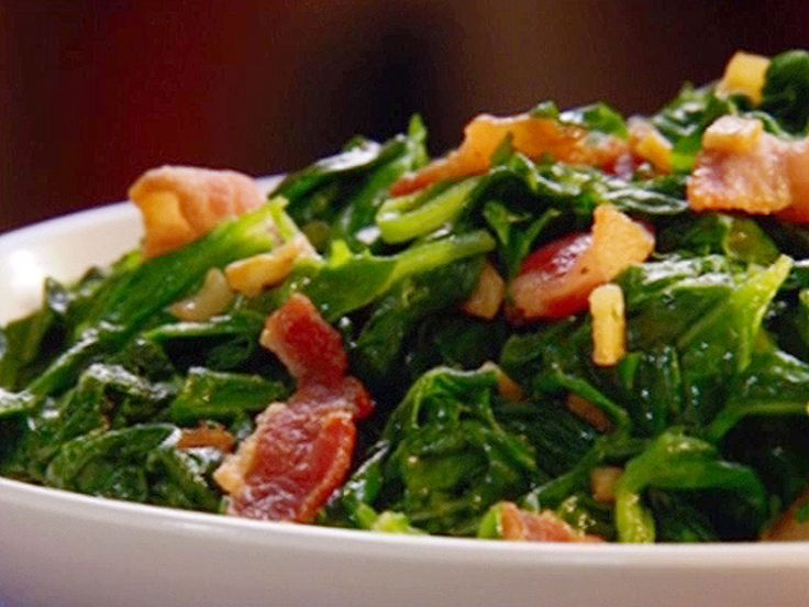 Neelys Sauteed Spinach recipe from Patrick and Gina Neely via Food Network  add onion and red pepper flakes