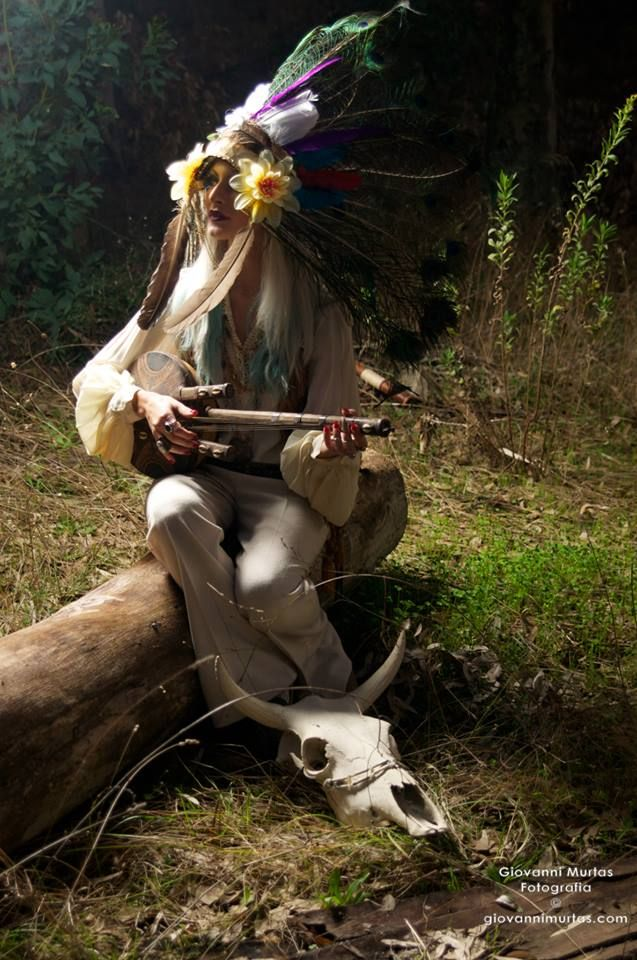 Inspired 70 style/American Native - Vintage Clothes - Model, Set Design, outfit and handmade headgear by me - Jessica Make Up - Photography: Giovanni Murtas - Location: Sardinia/Italy