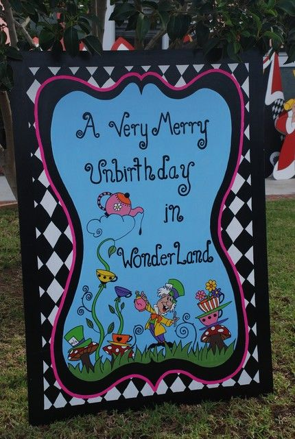 Great Alice in Wonderland birthday welcome sign! See more party ideas at CatchMyParty.com.