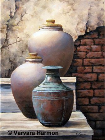 Antique Pots, original acrylic painting by Varvara Harmon