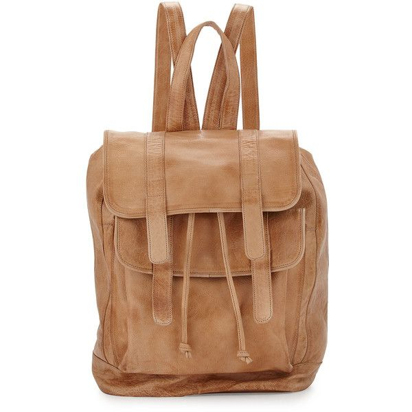 Day & Mood Clive Leather Flap Backpack (€125) ❤ liked on Polyvore featuring bags, backpacks, camel, camel bag, camel backpack, zip bags, flap backpack and beige bag