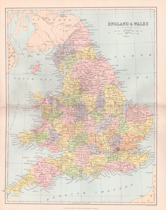 ANTIQUE MAP PRINT, Map of England, Map of Wales, England, United Kingdom, Wales…