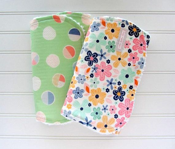 Boho Baby Girl Burp Cloth Set Floral Burp Cloth Mint and