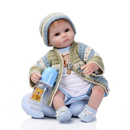 Baby Doll: Npkdoll Reborn Baby Doll Soft Silicone Vinyl 18inch 45cm Magnetic Mouth Lifelike Boy Girl Toy Blue Green Eyes Open -- See this great product.
