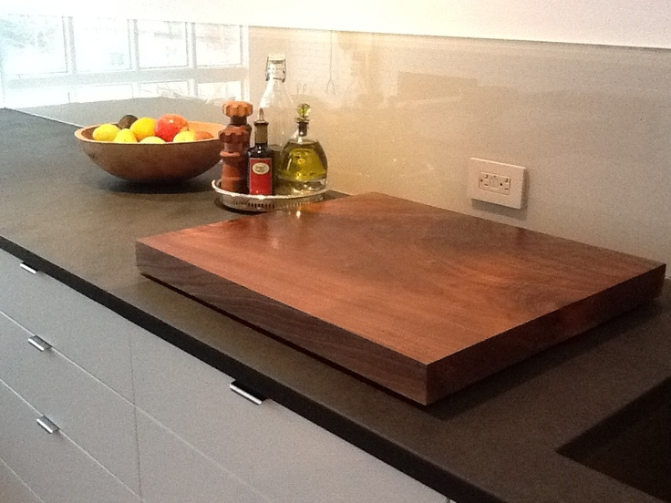 There's always a wood bowl of fresh fruit sitting on the kitchen counter. A walnut cutting board is not only beautifull but anti-bacterial.