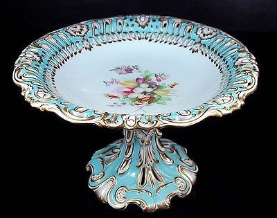 RARE 1850 Antique English Porcelain Turquoise Gold Footed Cake Plate Compote   eBay