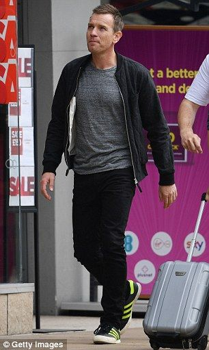 A healthier look (just): Having upgraded Renton's wardrobe slightly, the Fargo star was dressed in a grey tee-shirt , black harrington, skinny jeans and Adidas trainers