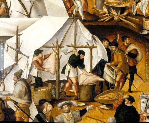 Life in the camp of Charles V. 16th century.