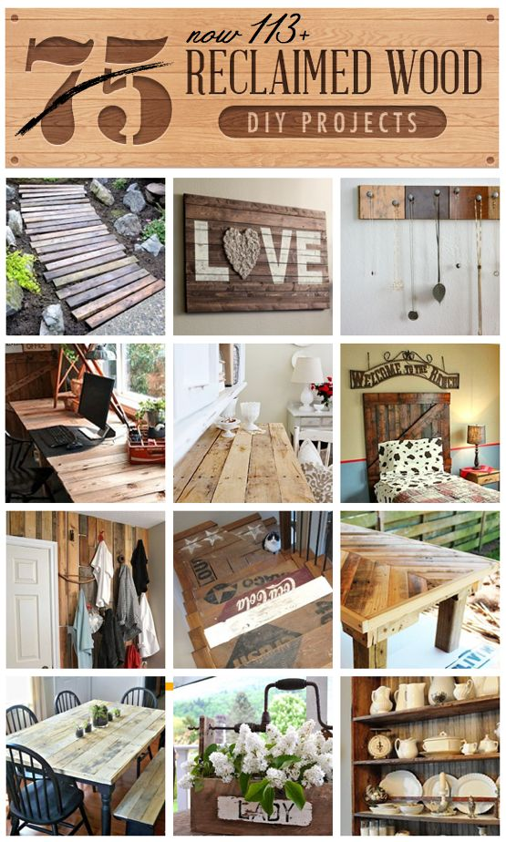 113+ Reclaimed Wood DIY Projects all in one clipboard