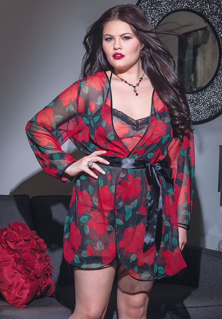 Plus Size Rose Print Chiffon Robe