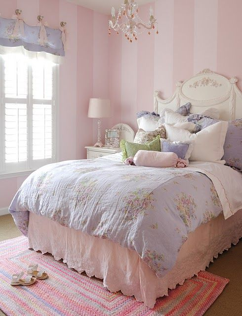 Love the striped walls paired with the antique white furniture and the blue and white floral shabby chic linens!!