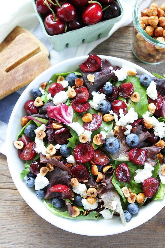 Balsamic Grilled Cherry, Blueberry, Goat Cheese, and Candied Hazelnut Salad Recipe on http://twopeasandtheirpod.com
