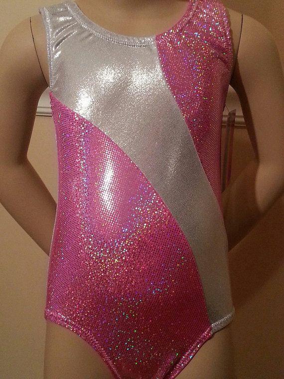 Cute Gymnastics Leotards for Girls | Cute White Shimmer and Hot Pink Sparkle Leotard - Girls Gymnastics ...