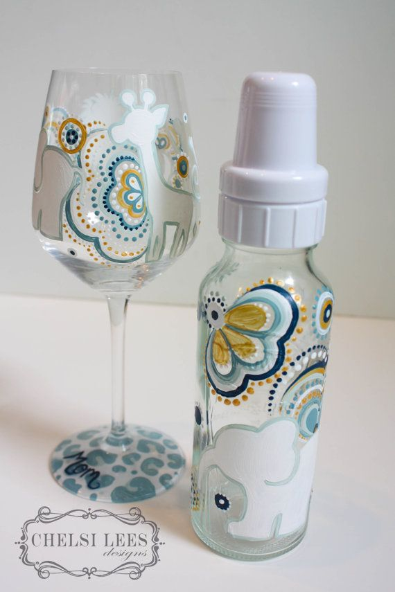 Custom hand painted baby bottle and wine glass for mom.. a personal gift of beautiful hand painted glassware- mix and match glassware sets and quantities of choice. (price will vary) Please provide a description of what youd like on the glassware to personalize it for either yourself or as a gift to someone special that may be expecting! You can find bottles and wine glasses online and in specialty stores... but how often can you get them painted special for someone...making it unique and…