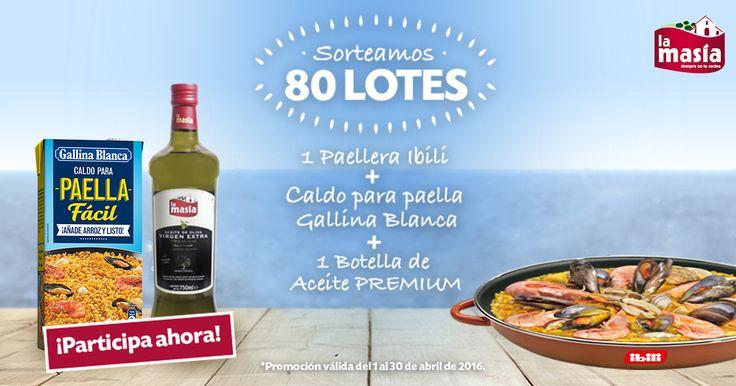 ¡Gana un LOTE de 1 paellera Ibili, caldo para paella Gallina Blanca y 1 botella de Aceite PREMIUM La Masía!