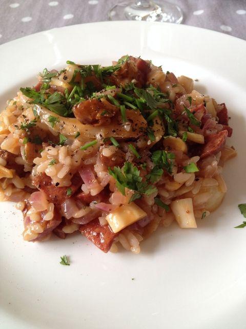 Heerlijke paddenstoelen risotto met chorizo
