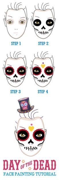 Face-painting tutorial for Day of the Dead  https://happythought.co.uk/day-of-the-dead/skull-face-paint-tutorial    Halloween face paint how to #calavera #sugarskull #dayofthedead